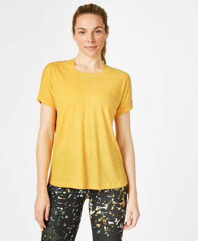 Ab Crunch Workout T-Shirt, Turmeric Yellow   Sweaty Betty