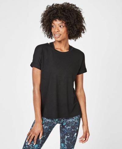 Ab Crunch Workout T-Shirt, Black   Sweaty Betty