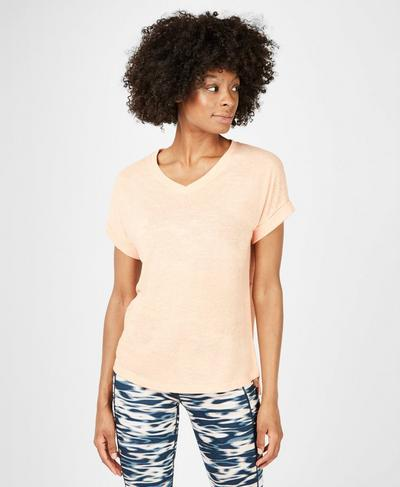 Boyfriend V-Neck Gym T-Shirt, Apricot Orange | Sweaty Betty