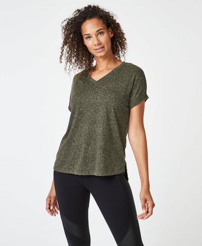 Ab Crunch V-Neck Workout T-Shirt, Dark Forest Green | Sweaty Betty