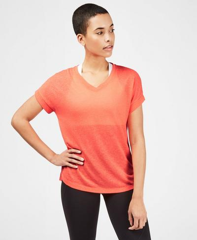 Boyfriend V-Neck Gym T-Shirt, Fluro Flash Pink | Sweaty Betty