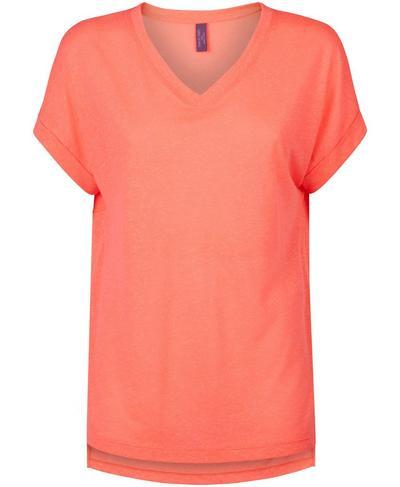 Boyfriend V-Neck Workout T-Shirt, Fluro Flash Pink | Sweaty Betty