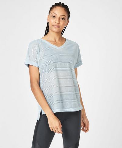 Ab Crunch V-Neck Workout T-Shirt, Infinity Blue | Sweaty Betty