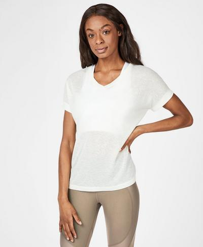 Boyfriend V-Neck Gym T-Shirt, Lily White | Sweaty Betty