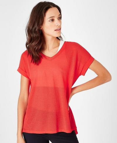 Ab Crunch V-Neck Workout T-Shirt, Tulip Red | Sweaty Betty