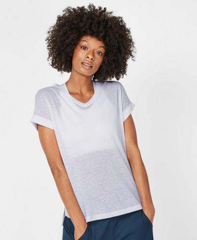 Ab Crunch V-Neck Workout T-Shirt, White | Sweaty Betty