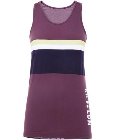 Athlete Colour Block Seamless Tank, Aubergine | Sweaty Betty