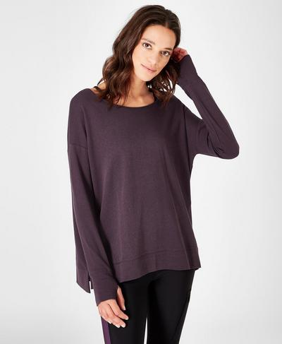 Simhasana Sweatshirt, Aubergine | Sweaty Betty