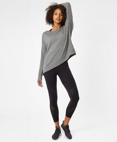 Simhasana Sweatshirt, Charcoal Marl | Sweaty Betty