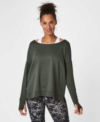 Simhasana Sweatshirt, Olive | Sweaty Betty