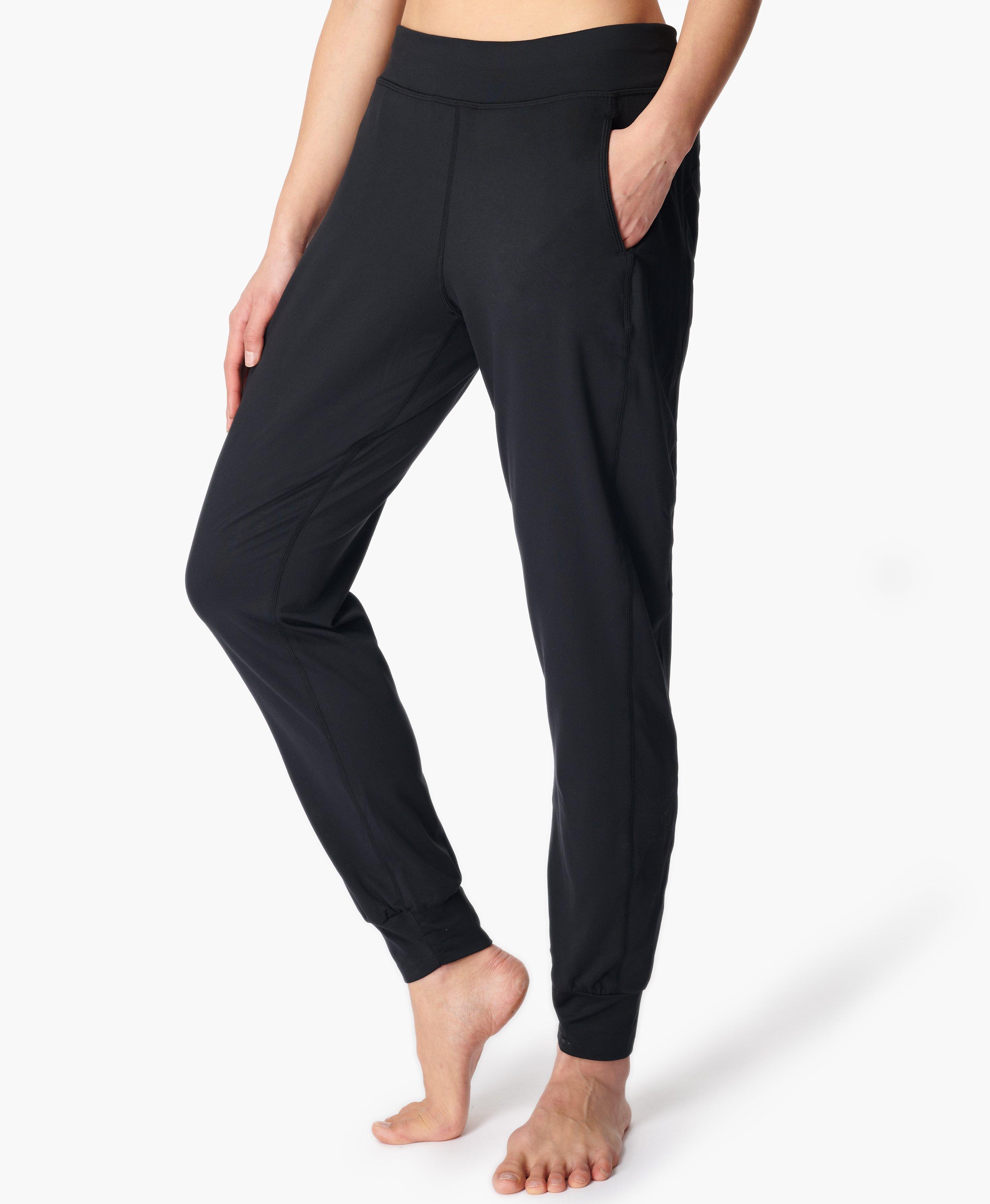 Solid Black Cuffed Yoga Pants