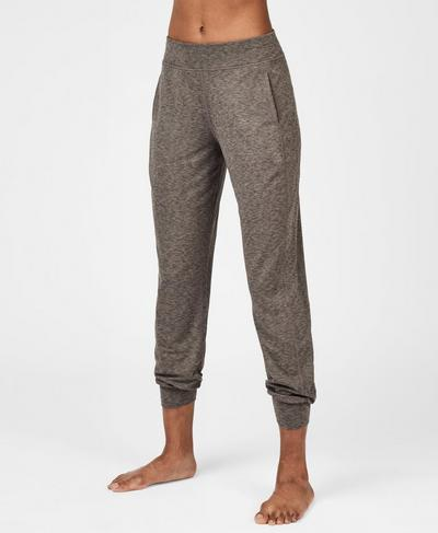 Gary Yoga Pants, Dark Taupe Marl | Sweaty Betty