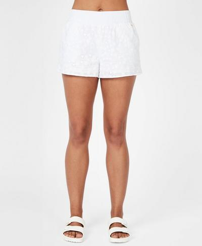 Broderie Beach Shorts, White | Sweaty Betty