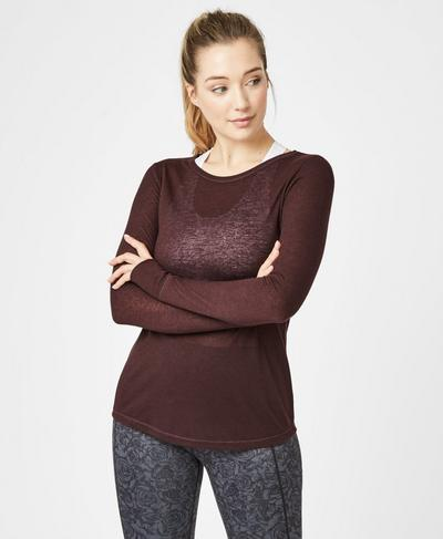 Bandha Long Sleeve Yoga Top, Black Cherry | Sweaty Betty