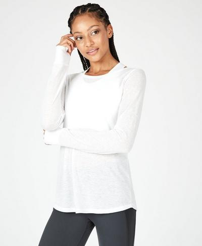Bandha Long Sleeve Yoga Top, White | Sweaty Betty