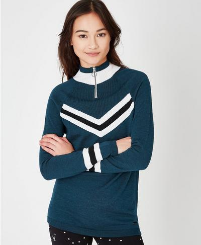 Chalet Merino Seamless Sweater, Beetle Blue Colour Block | Sweaty Betty