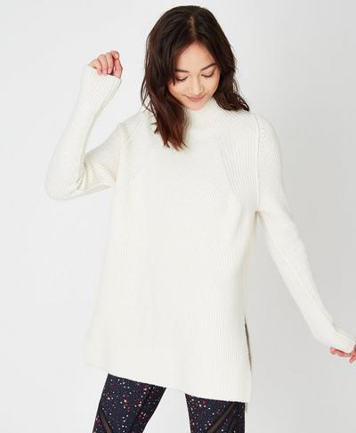 Spirit Knitted Sweater, Oatmeal Marl   Sweaty Betty
