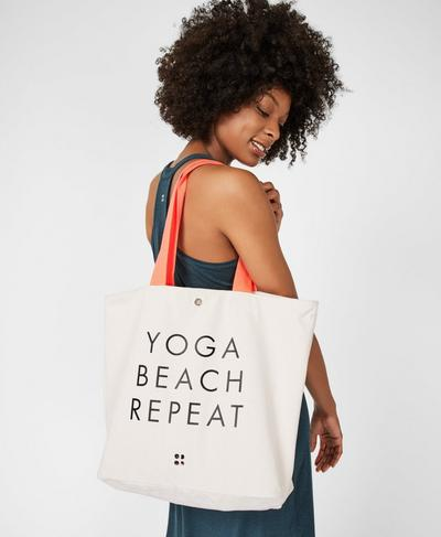Canvas Beach Bag, Westfjords White | Sweaty Betty