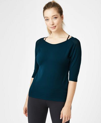 Dharana Short Sleeve Yoga T-shirt, Beetle Blue | Sweaty Betty