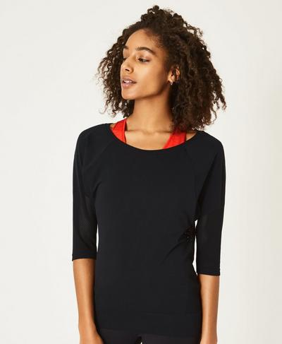 Dharana Short Sleeve Yoga T-shirt, Black | Sweaty Betty