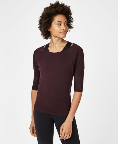 Dharana Short Sleeve Yoga Tee, Black Cherry | Sweaty Betty
