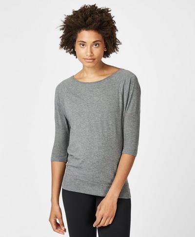 Dharana Short Sleeve Yoga T-Shirt, Charcoal Marl | Sweaty Betty