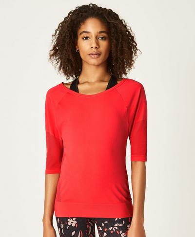 Dharana Short Sleeve Yoga Tee, Tulip Red | Sweaty Betty