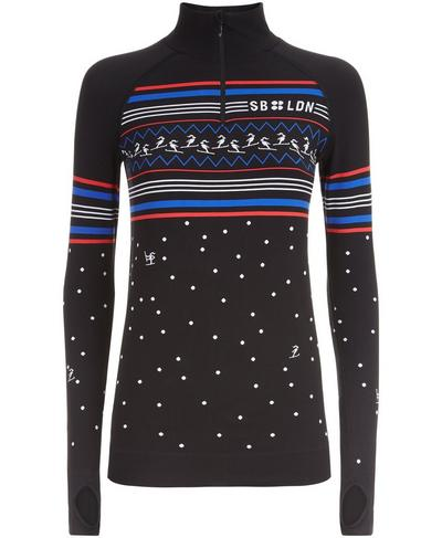 Free Style Seamless Long Sleeve Base Layer, Black Snowfall Jacquard | Sweaty Betty