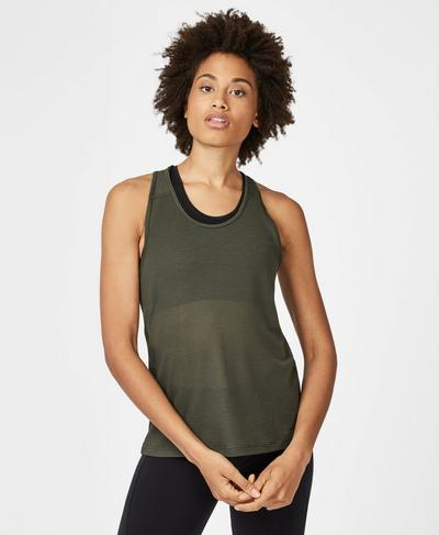 Compound Mesh Workout Tank, Olive | Sweaty Betty