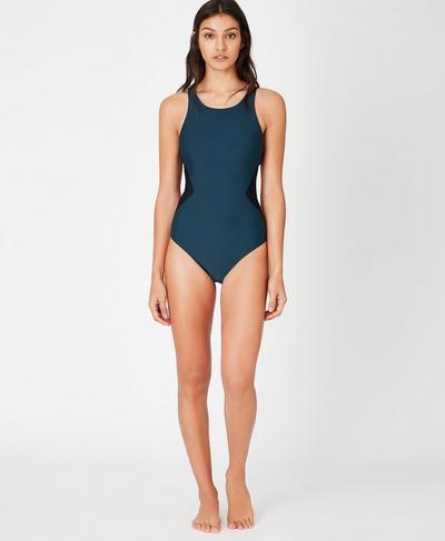 Glide Swimsuit, Beetle Blue Colour Block | Sweaty Betty