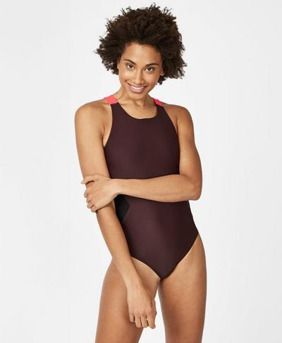 Glide Swimsuit, Black Cherry Colour Block | Sweaty Betty