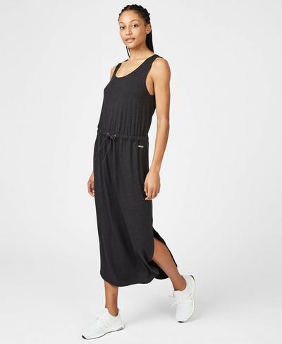Bloom Tank Dress, Black Marl | Sweaty Betty