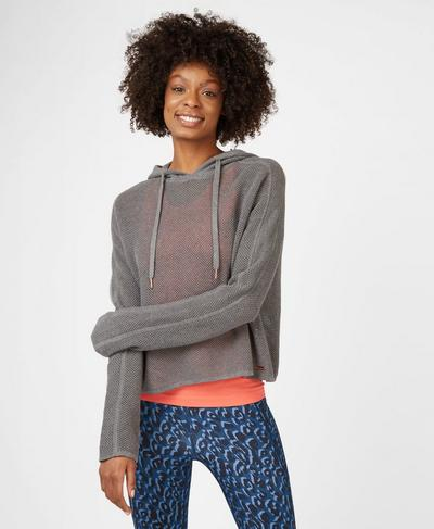 Mesh Up Hoodie, Charcoal Marl | Sweaty Betty