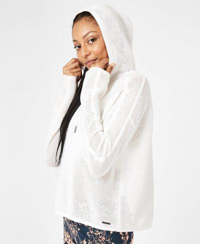 Mesh Up Hoodie, White | Sweaty Betty