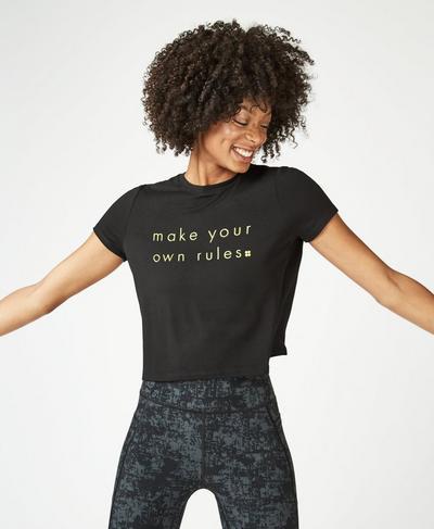 Euphoria Short Sleeve Crop Workout T-Shirt, Black A | Sweaty Betty