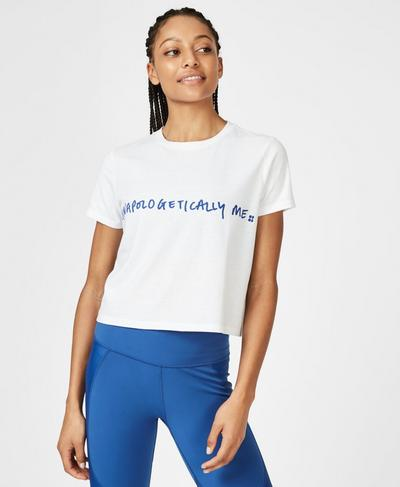 Euphoria Short Sleeve Crop Workout T-Shirt, White | Sweaty Betty