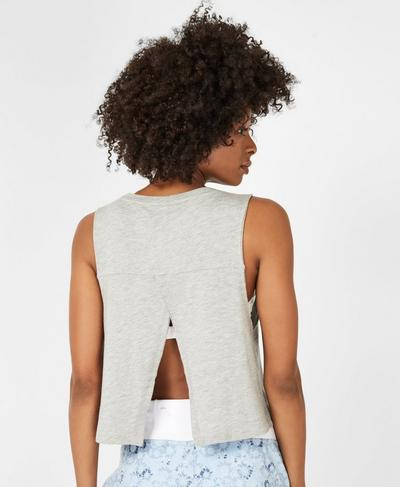 Eden Open Back Workout Tank, Light Grey Marl | Sweaty Betty
