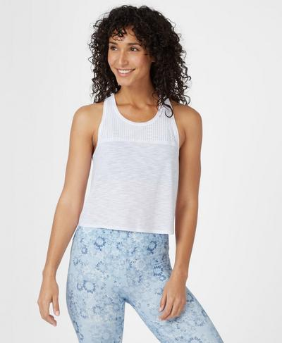 Breeze Short Running Tank, White | Sweaty Betty