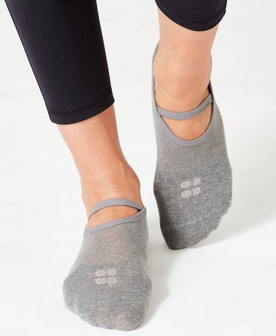 Pilates Socks, Charcoal Marl Velvet Rose | Sweaty Betty