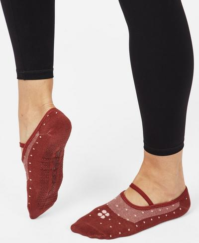 Pilates Socks, Rust Polka Dot | Sweaty Betty