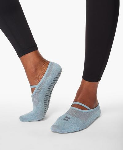 Pilates Socks, Storm Blue Marl | Sweaty Betty