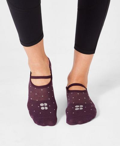 Pilates Socks, Aubergine Polka Dot | Sweaty Betty
