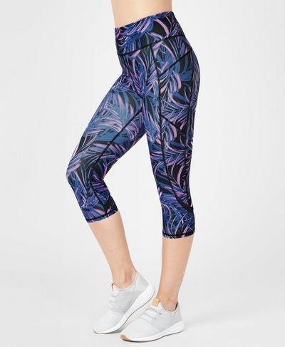 97252cda60df78 Zero Gravity High Waisted Cropped Running Leggings, Neon Palm Leaf Print |  Sweaty Betty