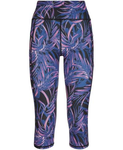Zero Gravity High Waisted Capri Running Leggings, Neon Palm Leaf Print | Sweaty Betty