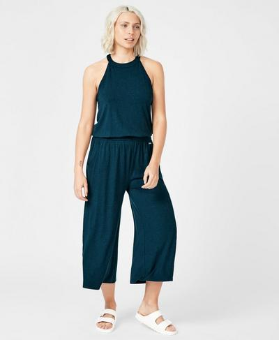 Serenity Culotte Jumpsuit, Beetle Blue | Sweaty Betty