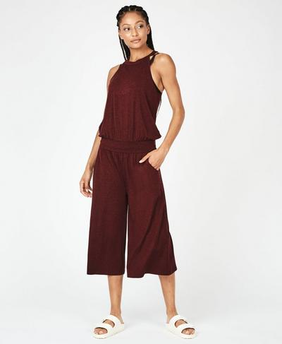 Serenity Culotte Jumpsuit, Black Cherry | Sweaty Betty