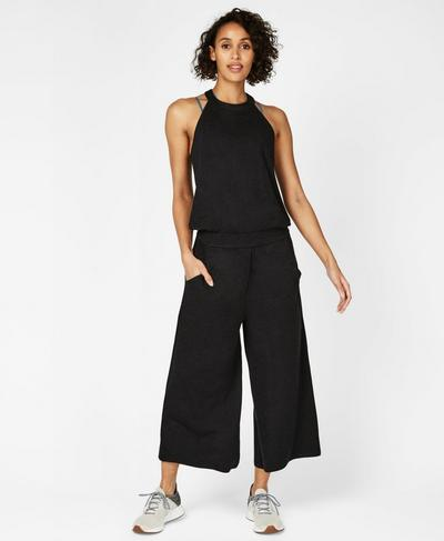 Serenity Culotte Jumpsuit, Black Marl | Sweaty Betty