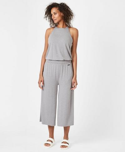Serenity Culotte Jumpsuit, Charcoal Marl | Sweaty Betty