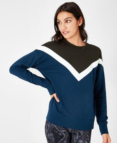 Colour Block Sweatshirt, Beetle Blue | Sweaty Betty