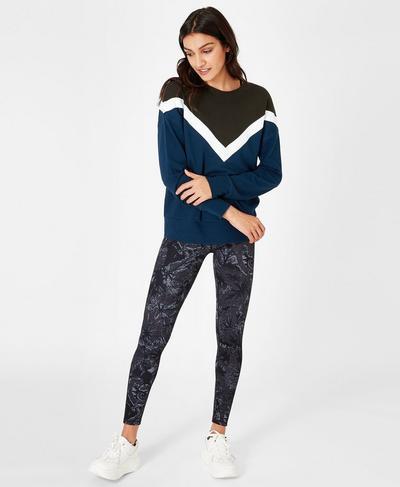 Colour Block Sweatshirt, Beetle Blue | Sweaty Betty